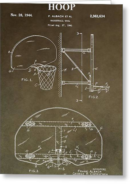 Basketball Digital Art Greeting Cards - Vintage Basketball Hoop Patent Greeting Card by Dan Sproul
