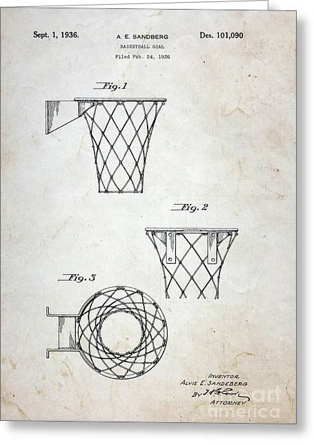 Shooting Guard Greeting Cards - Vintage Basketball Hoop Patent Greeting Card by Paul Ward