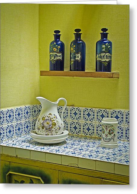 Water Jug Greeting Cards - Vintage Bathroom Greeting Card by Lana Enderle
