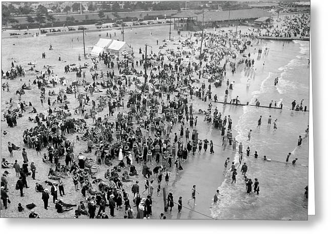 Amusement Park Greeting Cards - Vintage Beach Scene Greeting Card by MMG Archives