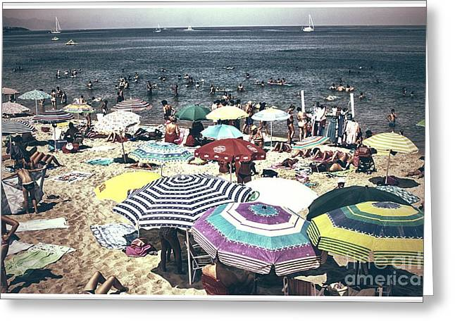 Beach Towel Photographs Greeting Cards - Vintage beach Greeting Card by Stefano Senise
