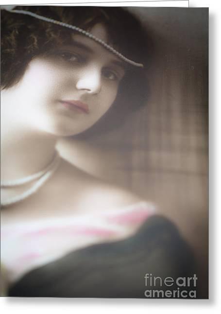 Edwardian Greeting Cards - Vintage Beauty Greeting Card by Jan Bickerton