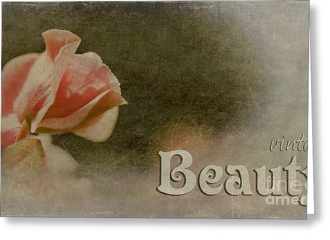 Floral Digital Art Digital Art Greeting Cards - Vintage Beauty Greeting Card by MaryJane Armstrong