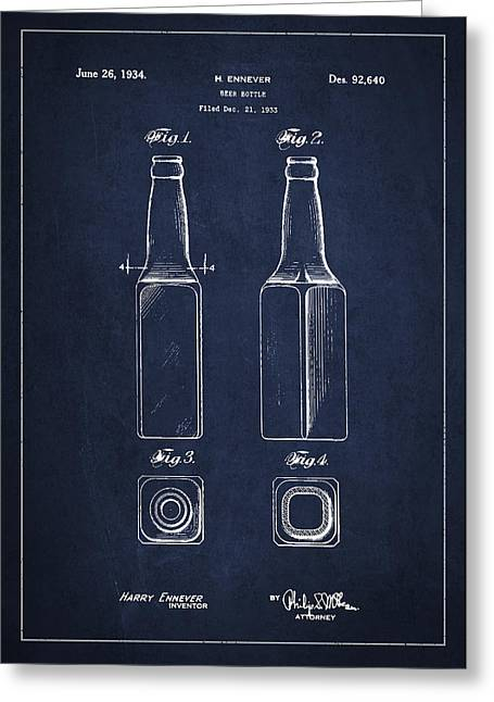 Beverage Digital Art Greeting Cards - Vintage Beer Bottle Patent Drawing from 1933 - Blue Greeting Card by Aged Pixel