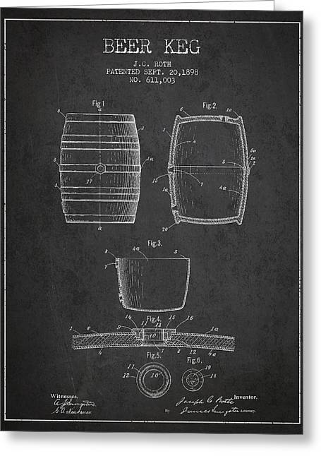 Keg Greeting Cards - Vintage Beer Keg Patent Drawing from 1898 - Dark Greeting Card by Aged Pixel