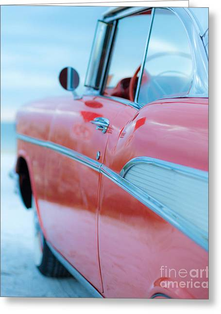 Old Auto Greeting Cards - Vintage Belair on the Beach 11x14 Standard Greeting Card by Edward Fielding