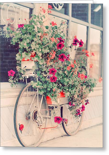 Beach Cottage Style Greeting Cards - Vintage Bicycle Flowers Photograph Greeting Card by Elle Moss