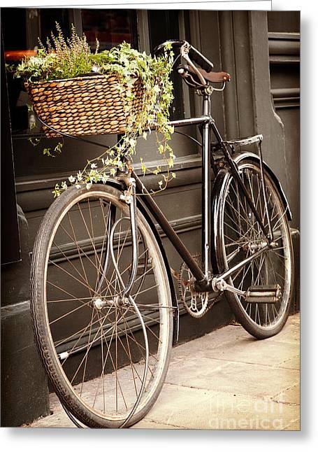 Spokes Greeting Cards - Vintage bicycle Greeting Card by Jane Rix