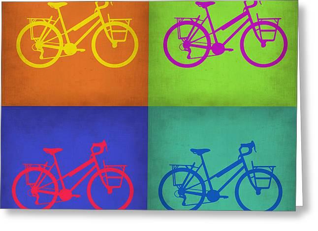 Vintage Bike Greeting Cards - Vintage Bicycle Pop Art 1 Greeting Card by Naxart Studio