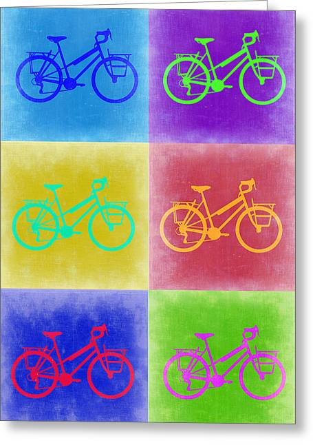 Wheels Greeting Cards - Vintage Bicycle Pop Art 2 Greeting Card by Naxart Studio