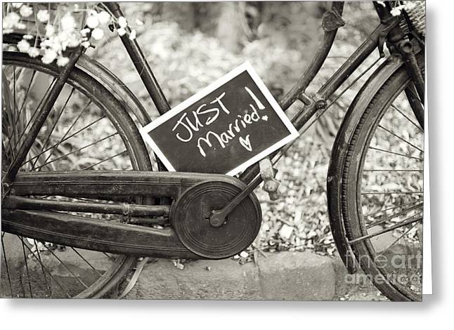Sepia Chalk Greeting Cards - Vintage Bicycle With Just Married Chalk Board Greeting Card by Lee Avison