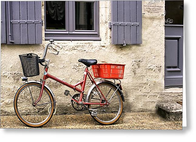 Eco-village Greeting Cards - Vintage Bike Outside a Shuttered Window Greeting Card by Nomad Art And  Design