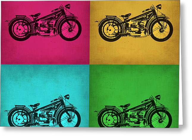 Biker Greeting Cards - Vintage Bike Pop Art 1 Greeting Card by Naxart Studio