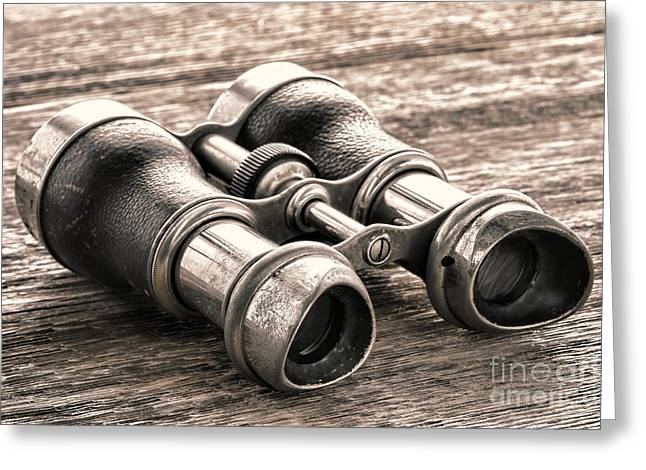 Artifact Greeting Cards - Vintage Binoculars Greeting Card by Olivier Le Queinec