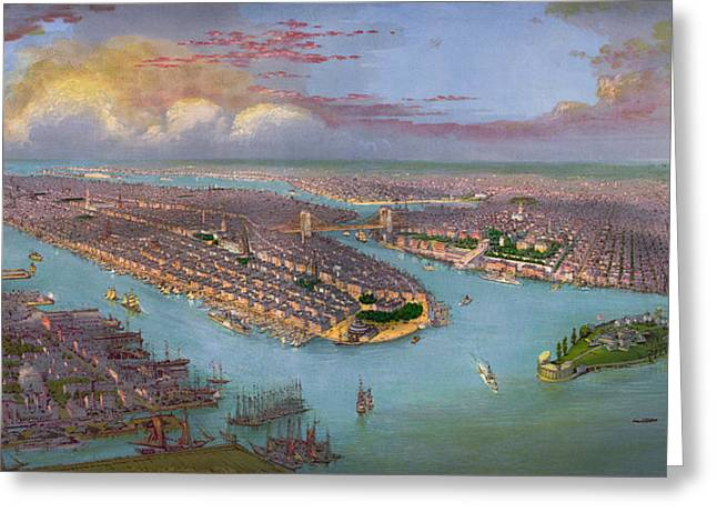 New York City Drawings Greeting Cards - Vintage Birds Eye View of New York City - circa 1885 Greeting Card by Blue Monocle