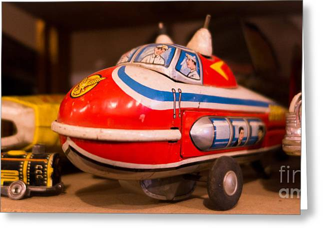 Toy Greeting Cards - Vintage Blimp and Toys Greeting Card by Amy Cicconi