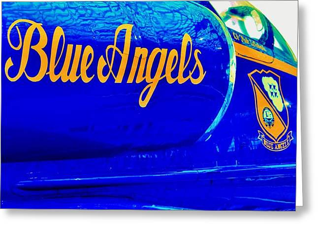 Angel Blues Greeting Cards - Vintage Blue Angel Greeting Card by Benjamin Yeager