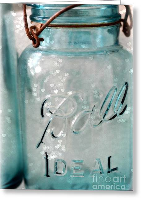 Mason Jar Greeting Cards - Vintage Blue Aqua Ball Jars - Mason Jars Ball Jars Photography - Shabby Chic Ball Jar With Hearts Greeting Card by Kathy Fornal