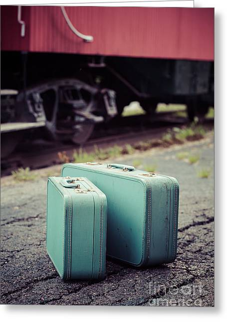 Vintage Blue Suitcases With Red Caboose Greeting Card by Edward Fielding