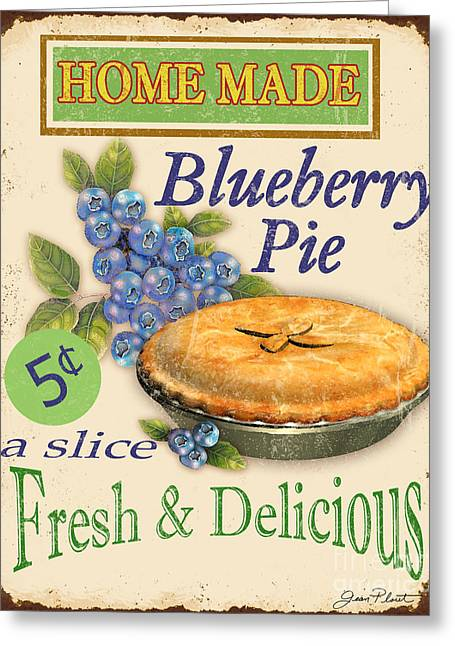 Dessert Digital Greeting Cards - Vintage Blueberry Pie Sign Greeting Card by Jean Plout