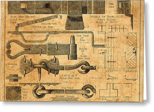 Hardware Greeting Cards - Vintage Blueprints 6 Greeting Card by Andrew Fare