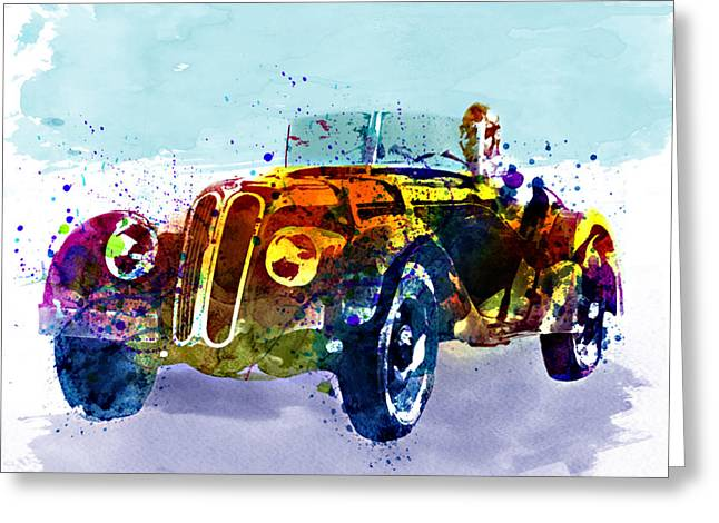 Wall-art Digital Art Greeting Cards - Vintage BMW watercolor Greeting Card by Marian Voicu