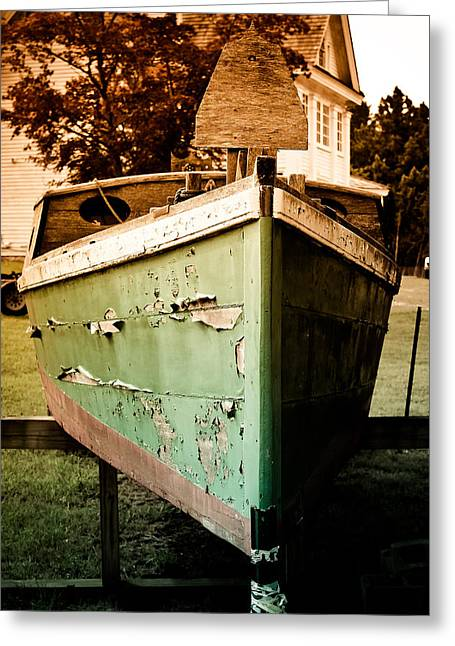 Old Cabins Greeting Cards - Vintage Boat Greeting Card by Colleen Kammerer