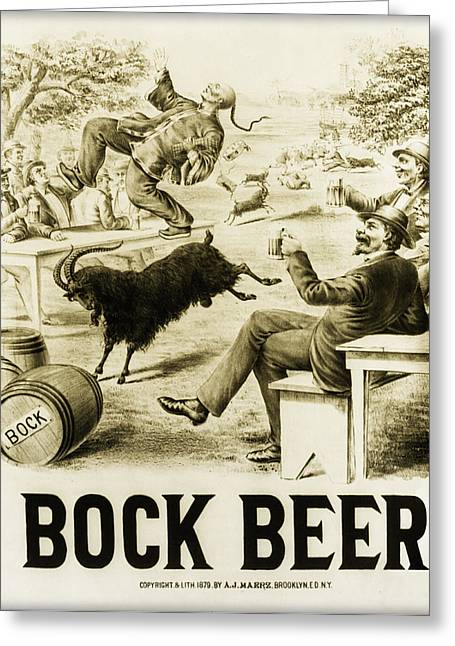 Bier Greeting Cards - Vintage Bock Beer - 1879 Greeting Card by Digital Reproductions