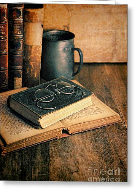 Tankards Greeting Cards - Vintage Books and Eyeglasses Greeting Card by Jill Battaglia