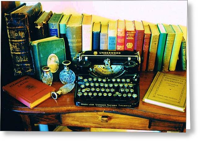 1st Edition Greeting Cards - Vintage Books and Typewriter Greeting Card by Peggy Leyva Conley