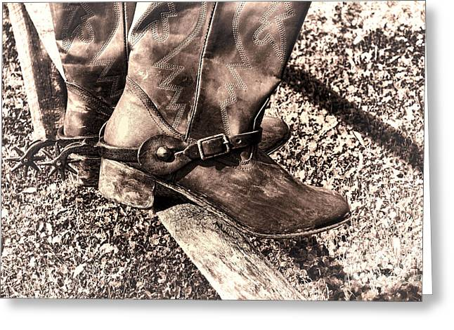 Boot Greeting Cards - Vintage Boots Greeting Card by Olivier Le Queinec