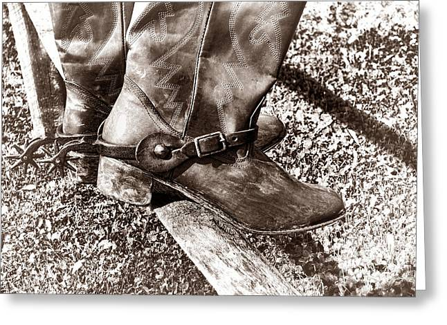 Wood And Leather Greeting Cards - Vintage Boots on Fence Greeting Card by American West Legend By Olivier Le Queinec