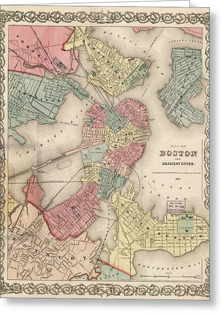 Boston Ma Photographs Greeting Cards - Vintage Boston Map 2 Greeting Card by Joann Vitali