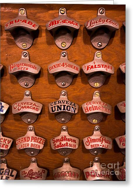 Hand Greeting Cards - Vintage Bottle Openers Greeting Card by Amy Cicconi