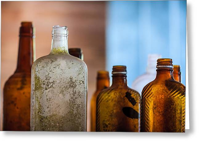 Mottled Greeting Cards - Vintage Bottles Greeting Card by Adam Romanowicz