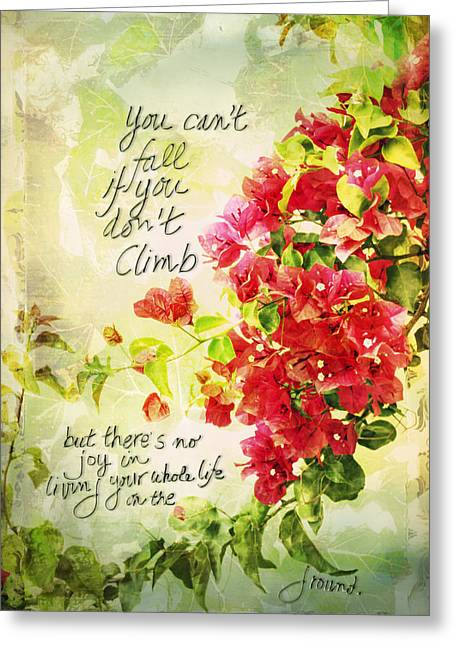 Nyctaginaceae Greeting Cards - Vintage Bougainvillea with inspirational quote Greeting Card by Marianne Campolongo