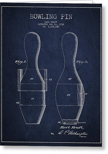 Bowling Greeting Cards - Vintage Bowling Pin Patent Drawing from 1938 Greeting Card by Aged Pixel