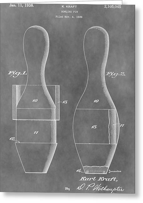 Champs Greeting Cards - Vintage Bowling Pins Patent Greeting Card by Dan Sproul
