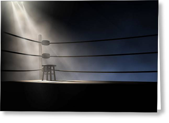 Empty Chairs Digital Greeting Cards - Vintage Boxing Corner And Stool Greeting Card by Allan Swart