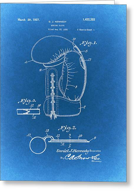 Sports Glove Drawings Greeting Cards - Vintage Boxing Glove Patent 1927 Greeting Card by Mountain Dreams