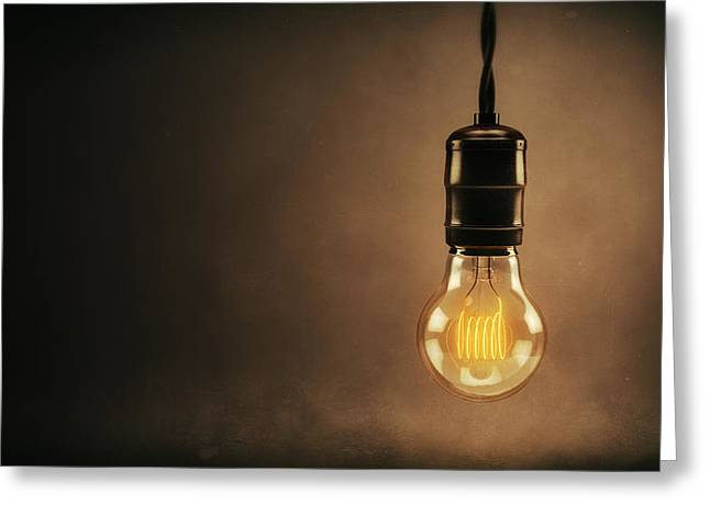 Bulb Greeting Cards - Vintage Bright Idea Greeting Card by Scott Norris