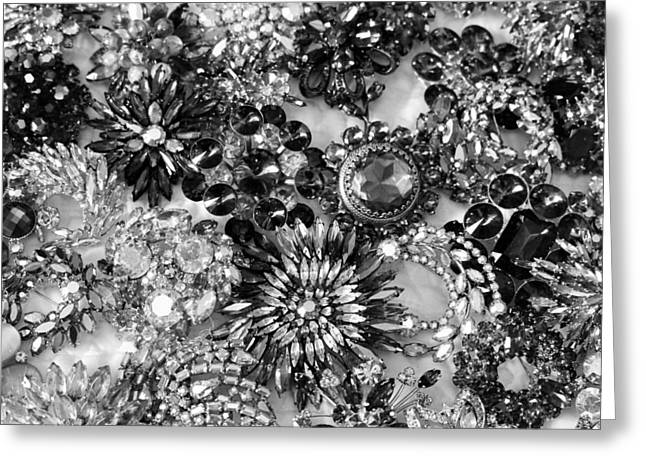 Black-and-white Jewelry Greeting Cards - Vintage Brooches Black and White II Greeting Card by Peggy Davis