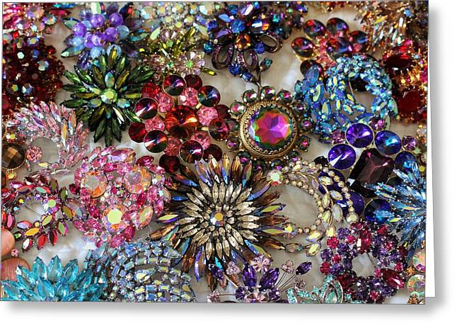 Sapphire Jewelry Greeting Cards - Vintage Brooches Greeting Card by Peggy Davis