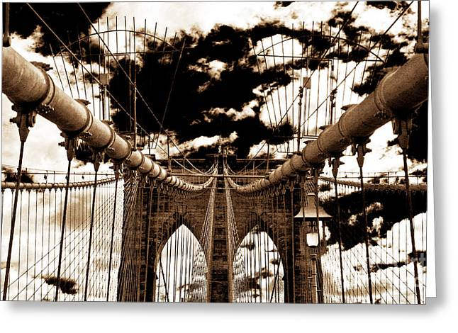 Retro Antique Greeting Cards - Vintage Brooklyn Bridge Greeting Card by John Rizzuto