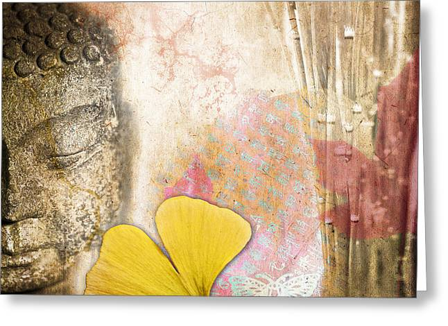 Budha Greeting Cards - Vintage Buddha and Ginkgo Greeting Card by Delphimages Photo Creations