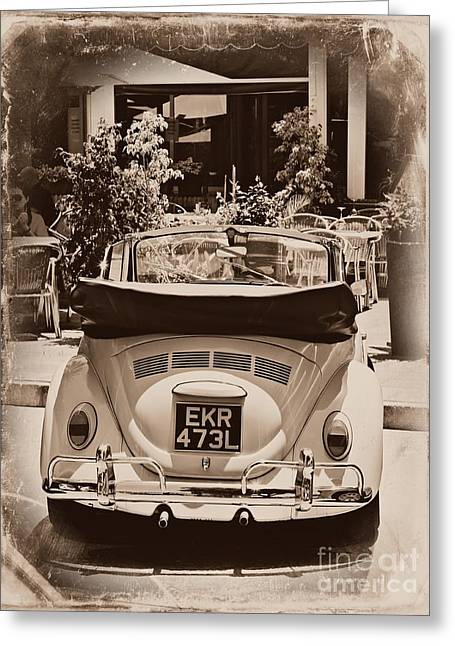 Beetle Car Interior Greeting Cards - Vintage Bug Greeting Card by Clare Bevan