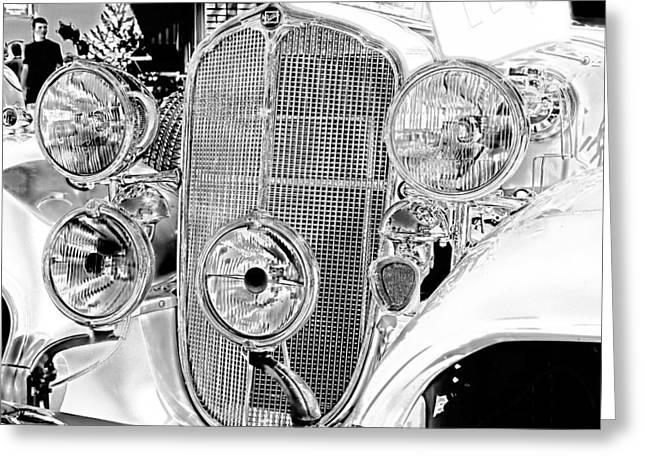 Automobiles Greeting Cards - Vintage Buick Grill Black and White Greeting Card by Lesa Fine