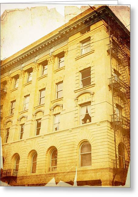 Downtown Portland Greeting Cards - Vintage Building Greeting Card by Cathie Tyler