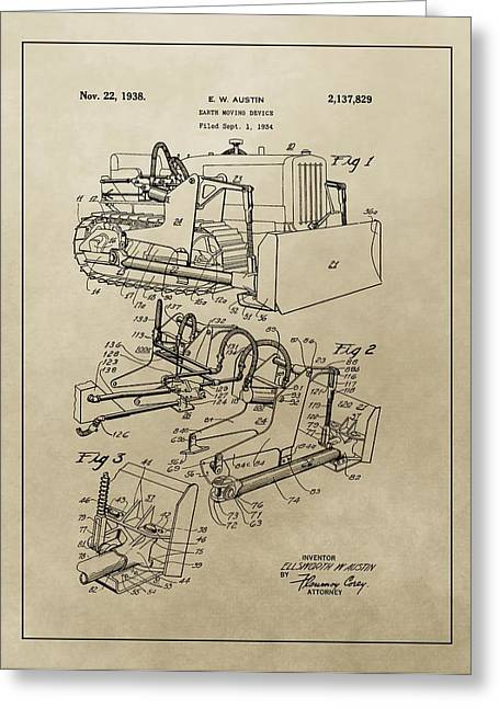 Equipment Mixed Media Greeting Cards - Vintage Bulldozer Patent Greeting Card by Dan Sproul