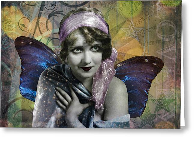 Vintage Beauty Greeting Cards - Vintage Butterfly Woman Greeting Card by Cat Whipple